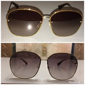 💯Gucci Brown Gold Gardient Sunglasses GG0228S